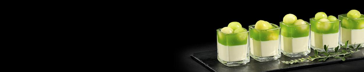 Panna cotta lait de brebis bille melon gelée concombre